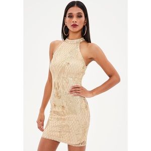 Missguided Dresses - Gold baroque dress